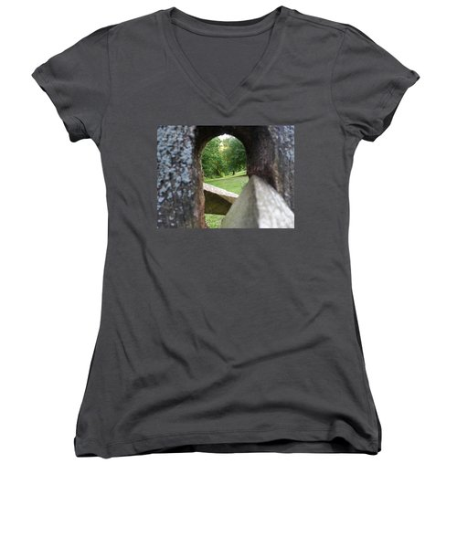 Women's V-Neck featuring the photograph Through The Post by Robert Knight