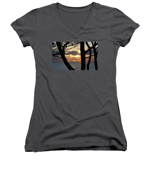 Women's V-Neck T-Shirt (Junior Cut) featuring the photograph Through The Trees by AJ Schibig