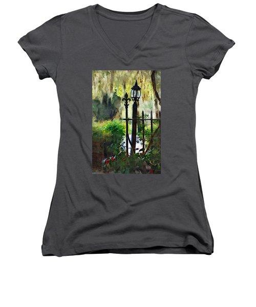 Women's V-Neck T-Shirt (Junior Cut) featuring the digital art Thru The Gate by Donna Bentley