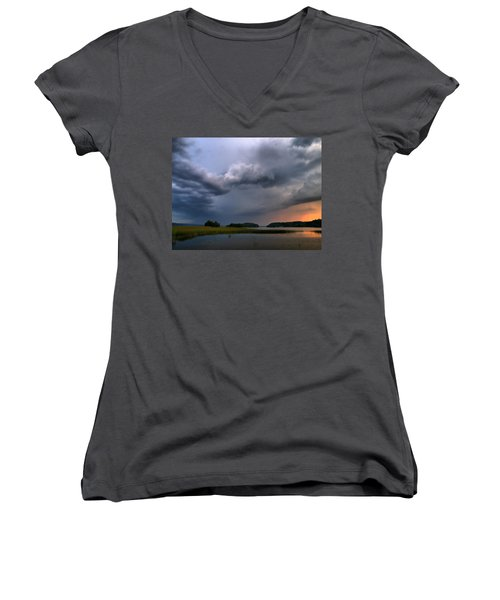 Women's V-Neck T-Shirt (Junior Cut) featuring the photograph Thunder At Siuro by Jouko Lehto