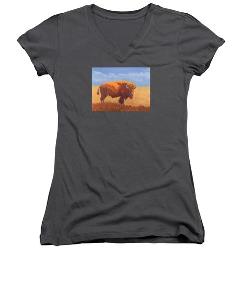 Women's V-Neck T-Shirt (Junior Cut) featuring the painting Thunder On The Prairie by Nancy Jolley