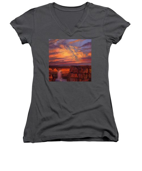 Women's V-Neck featuring the painting Thundercloud Over The Palouse by Steve Henderson
