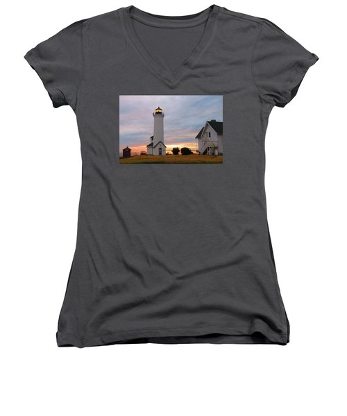 Tibbetts Point Lighthouse, July Sunset Women's V-Neck