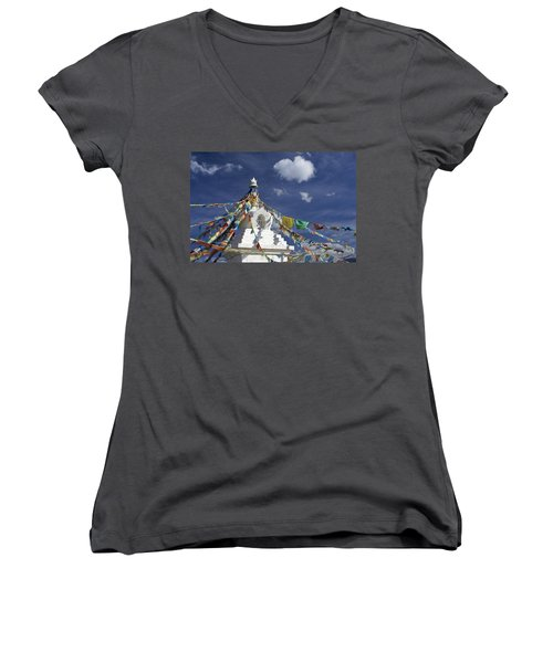 Tibetan Stupa With Prayer Flags Women's V-Neck (Athletic Fit)
