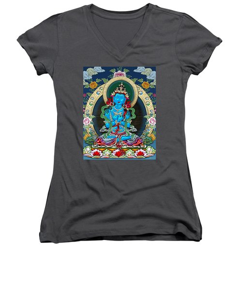Tibetan Thangka -  Vajradhara Women's V-Neck T-Shirt
