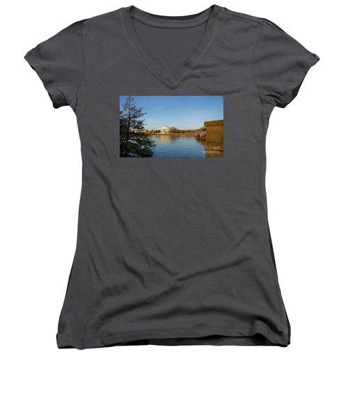 Tidal Basin And Jefferson Memorial Women's V-Neck T-Shirt (Junior Cut) by Megan Cohen