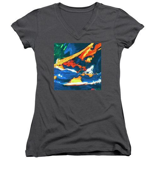 Women's V-Neck T-Shirt (Junior Cut) featuring the painting Tidal Forces by Dominic Piperata