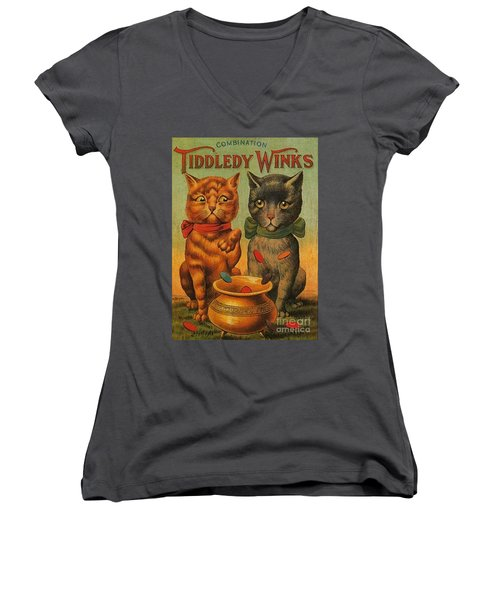 Tiddledy Winks Funny Victorian Cats Women's V-Neck T-Shirt