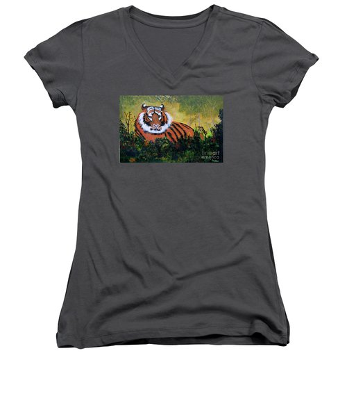 Tiger At Rest Women's V-Neck T-Shirt (Junior Cut) by Myrna Walsh