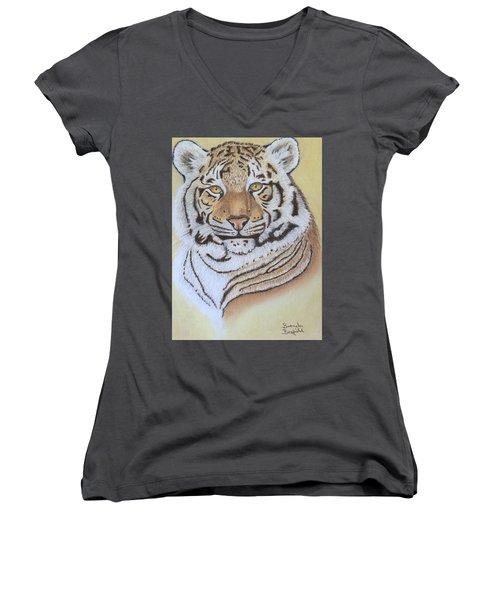 Tiger Women's V-Neck T-Shirt (Junior Cut) by Brenda Bonfield