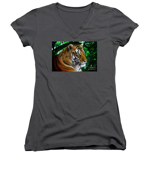Tiger Contemplation Women's V-Neck (Athletic Fit)