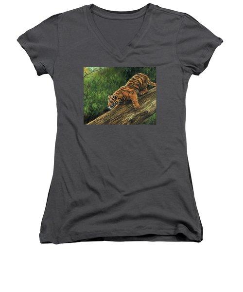 Tiger Descending Tree Women's V-Neck T-Shirt (Junior Cut) by David Stribbling