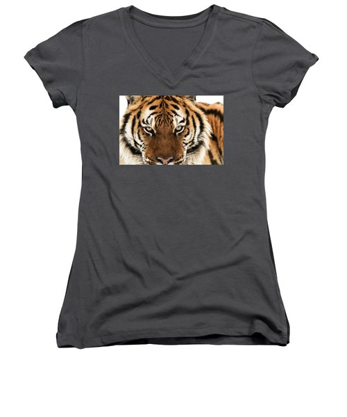 Women's V-Neck featuring the photograph Tiger Eyes by Scott Read