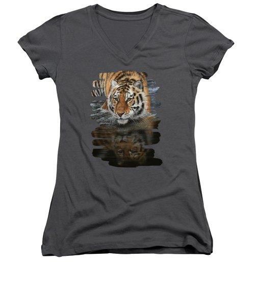 Tiger In Water Women's V-Neck