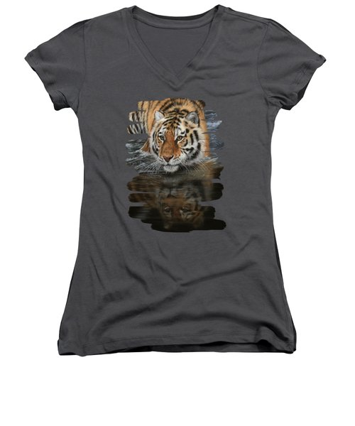 Tiger In Water Women's V-Neck (Athletic Fit)