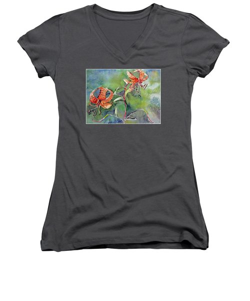 Women's V-Neck T-Shirt (Junior Cut) featuring the painting Tiger Lilies by Mindy Newman