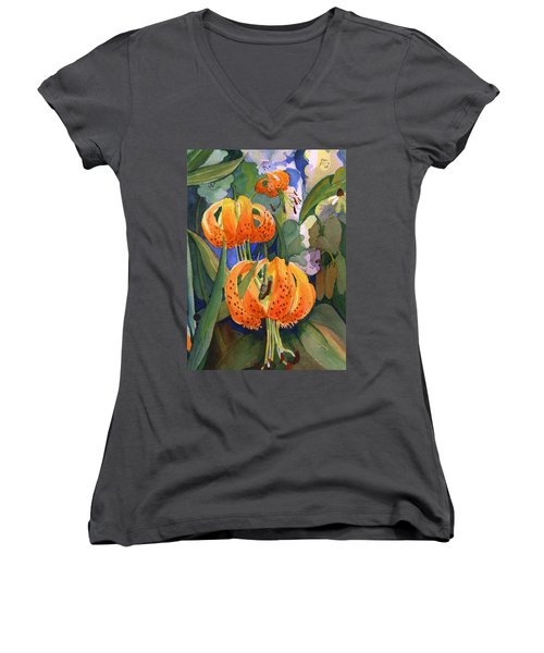 Tiger Lily Parachutes Women's V-Neck T-Shirt (Junior Cut) by Nancy Watson