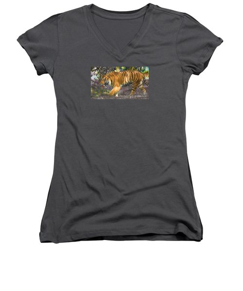 Women's V-Neck T-Shirt (Junior Cut) featuring the painting Tiger On The Prowl by Judy Kay
