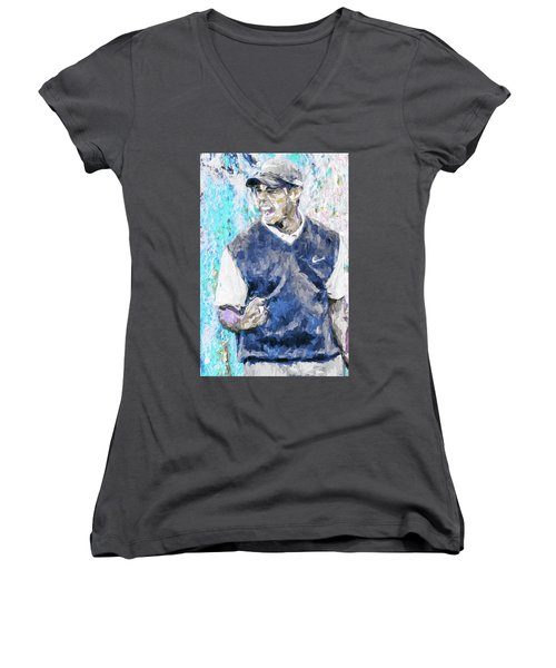 Women's V-Neck T-Shirt (Junior Cut) featuring the photograph Tiger Says 2 Painting Digital Golf by David Haskett
