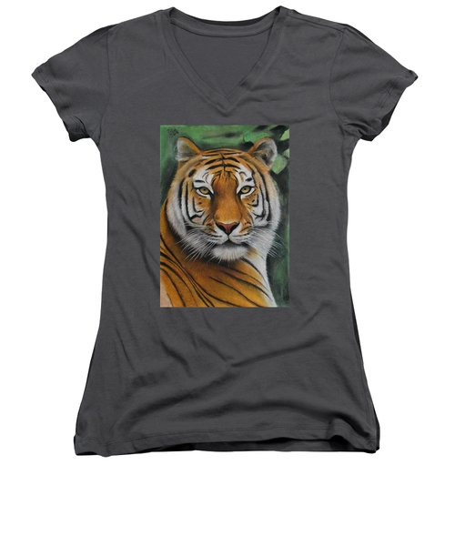 Tiger - The Heart Of India Women's V-Neck T-Shirt (Junior Cut) by Vishvesh Tadsare
