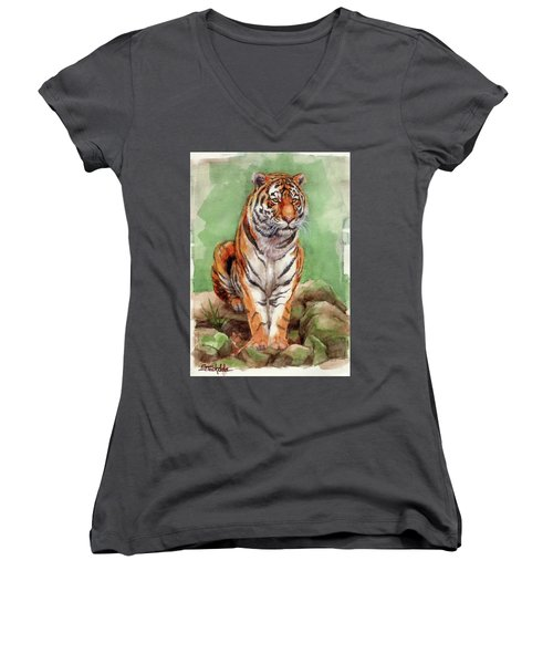 Women's V-Neck T-Shirt (Junior Cut) featuring the painting Tiger Watercolor Sketch by Margaret Stockdale