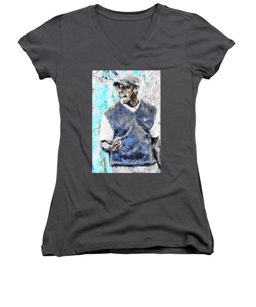 Tiger Woods One Blue Golfer Digital Art Women's V-Neck T-Shirt (Junior Cut) by David Haskett