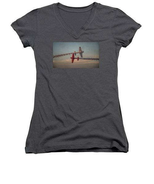 Tiger Yak 55 Women's V-Neck T-Shirt (Junior Cut) by Dorothy Cunningham
