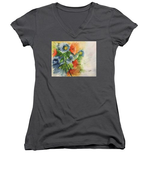 Tigerlilies And Cornflowers Women's V-Neck T-Shirt (Junior Cut) by Lucia Grilletto