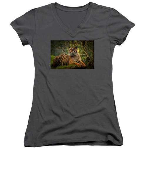 Women's V-Neck T-Shirt (Junior Cut) featuring the photograph Tigers Beauty by Scott Carruthers