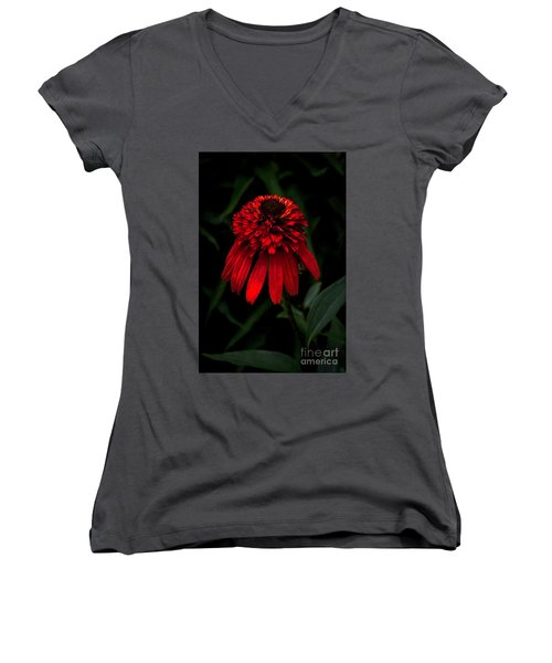 Women's V-Neck T-Shirt (Junior Cut) featuring the photograph Tiki Torch by Judy Wolinsky