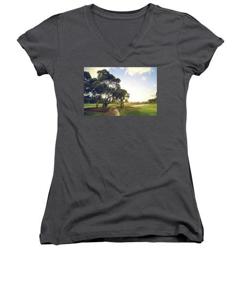 Women's V-Neck T-Shirt (Junior Cut) featuring the photograph 'til I'm In Your Arms Again by Laurie Search