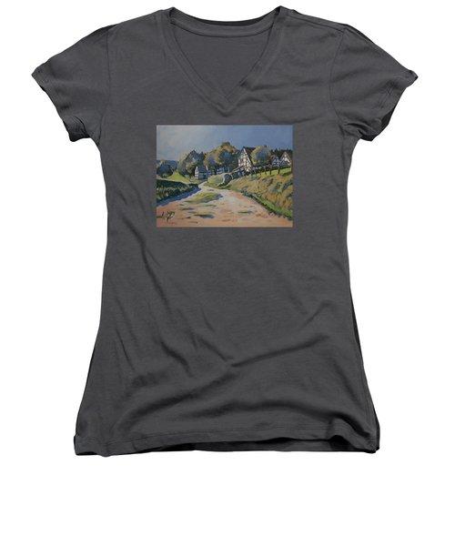 Timbered Houses In Terziet Women's V-Neck T-Shirt