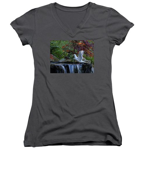 Time For A Bird Bath Women's V-Neck T-Shirt (Junior Cut) by Keith Boone