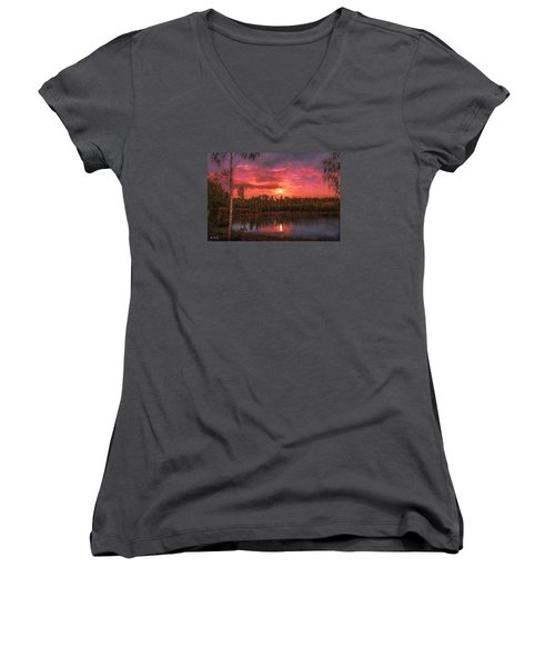 Women's V-Neck T-Shirt (Junior Cut) featuring the painting Time Of Grace by Rose-Maries Pictures