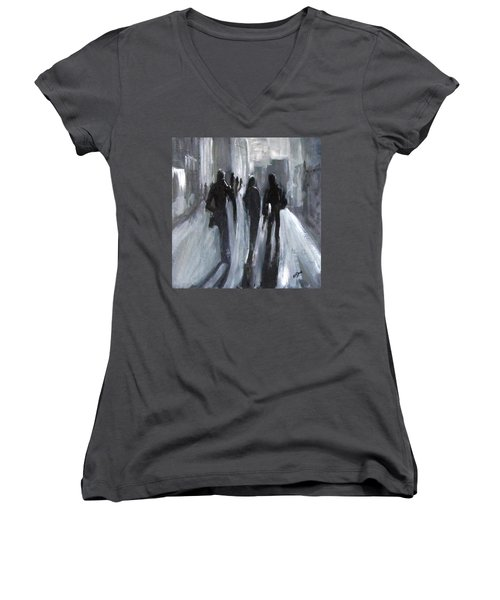 Time Of Long Shadows Women's V-Neck T-Shirt (Junior Cut) by Barbara O'Toole