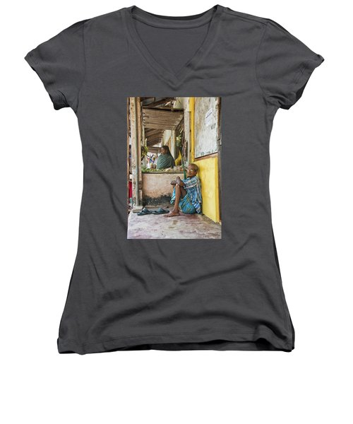 Women's V-Neck T-Shirt (Junior Cut) featuring the photograph Kumarakom by Marion Galt