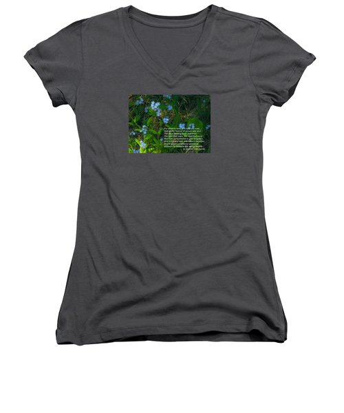 Time Remembered Is Grief Forgotten Women's V-Neck T-Shirt (Junior Cut) by Deborah Dendler