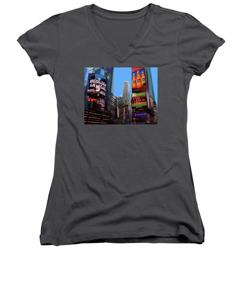 Women's V-Neck T-Shirt featuring the photograph Times Square 2 by Walter Fahmy