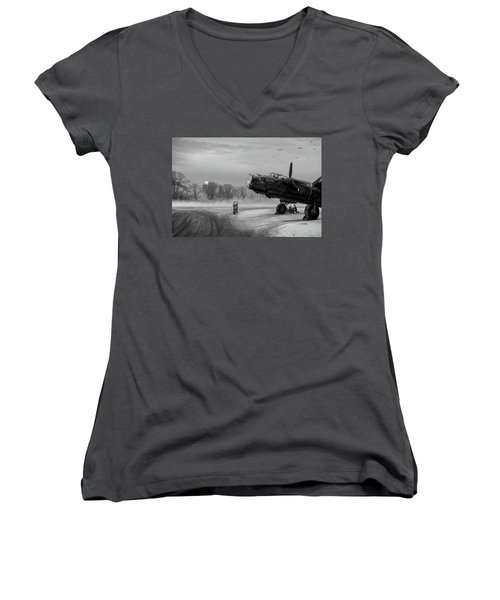 Women's V-Neck T-Shirt (Junior Cut) featuring the photograph Time To Go - Lancasters On Dispersal Bw Version by Gary Eason