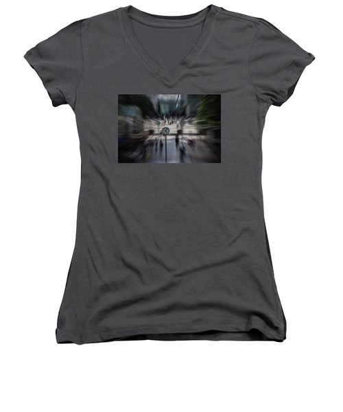Time Traveller Women's V-Neck T-Shirt (Junior Cut) by Martin Newman