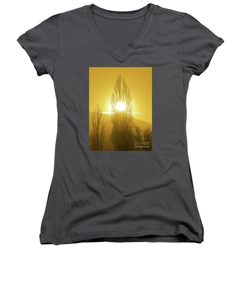 Timeless Globe Women's V-Neck T-Shirt (Junior Cut) by Gem S Visionary