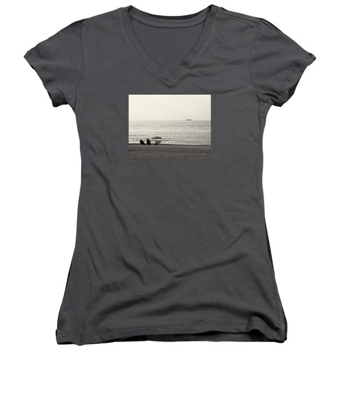 Women's V-Neck T-Shirt (Junior Cut) featuring the photograph Times Gone By by Pedro L Gili
