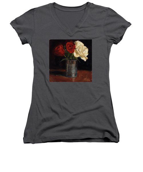 Women's V-Neck T-Shirt (Junior Cut) featuring the painting Tin Can Love by Billie Colson