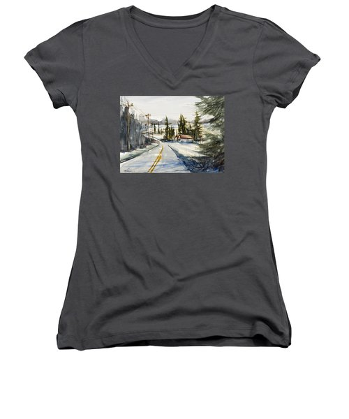 Tin Roof Rusted Women's V-Neck T-Shirt (Junior Cut) by Judith Levins