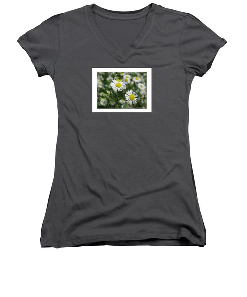 Tiny Flowers Women's V-Neck T-Shirt (Junior Cut) by Mikki Cucuzzo