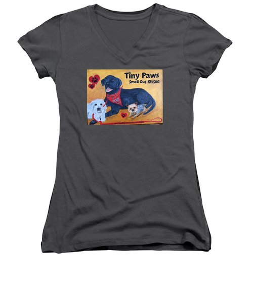 Tiny Paws Small Dog Rescue Women's V-Neck T-Shirt (Junior Cut) by Sharon Schultz