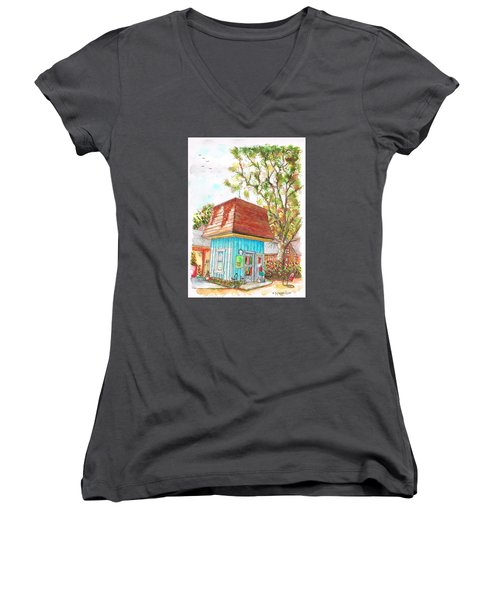 Tiny Tree Boutique In Los Olivos, California Women's V-Neck T-Shirt (Junior Cut) by Carlos G Groppa