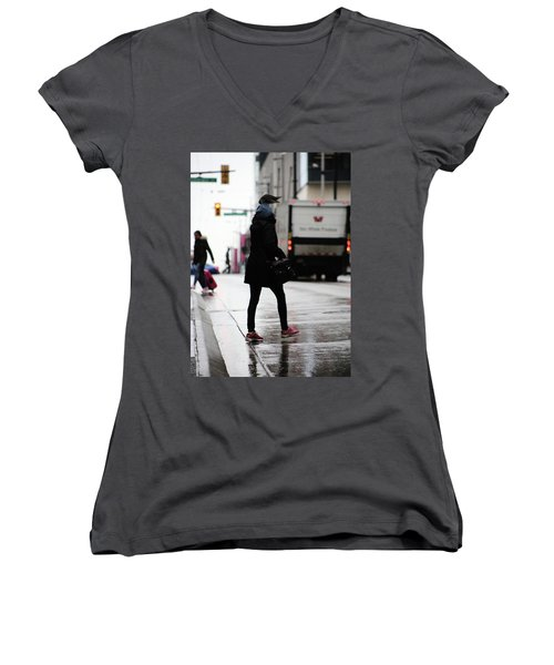 Women's V-Neck T-Shirt (Junior Cut) featuring the photograph Tiny Umbrella  by Empty Wall