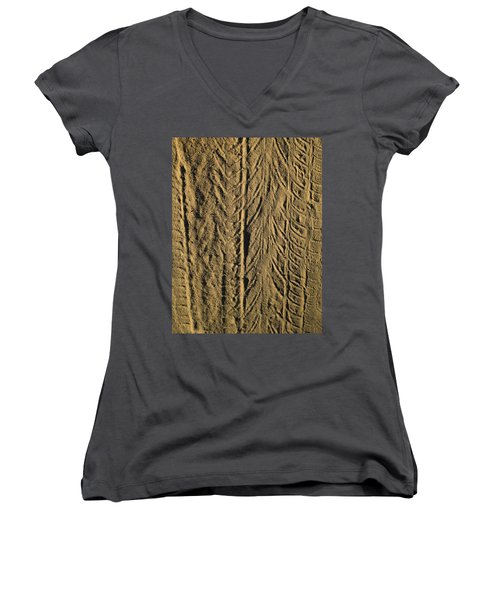 Tire Tracks Women's V-Neck T-Shirt (Junior Cut) by R  Allen Swezey