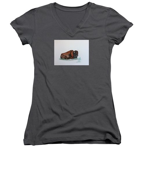 Women's V-Neck T-Shirt (Junior Cut) featuring the drawing Tired Bison by Ellen Canfield